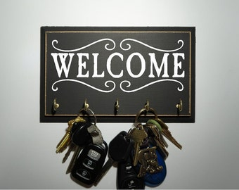 Welcome Home Key Rack, Key Holder, Key Hooks for Home Storage Available in Multiple Colors