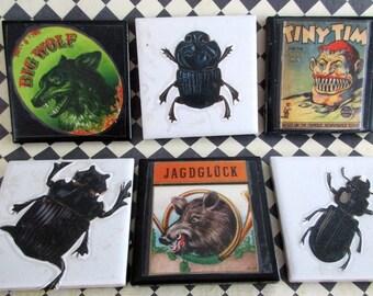 Tiles, Halloween, Vintage Embellished Decorative Horror, Creepy Tiles, Drink & Barware  ,Ceramic Tile,  Drink Coasters