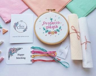 Prosecco Please Cross Stitch Kit - Prosecco Gift - Prosecco Cross Stitch - Gift For Her - Funny Cross Stitch - Modern Cross Stitch - UK