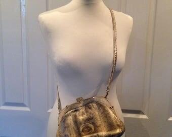 vintage snakeskin handbag Gold Horse And Carriage Emblem festival
