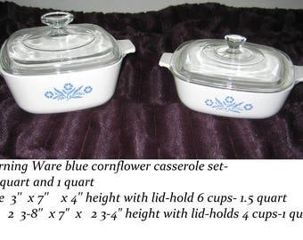 Corning Ware Blue Cornflower covered  white ovenware casseroles-  1.5 quart & 1 quart-1980
