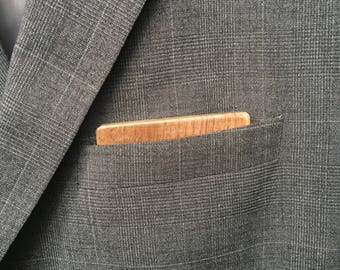 Wooden Reversible Pocket Square - Black Walnut
