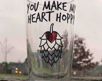 "Beer Lover ""You Make My Heart Hoppy"" Pint Glass Boyfriend Husband Gift"