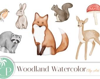 50% OFF SALE!  Woodland Watercolor Animals Clip Art Set - Set of 7 - Animal Watercolor - Woodland Watercolor - Instant Download