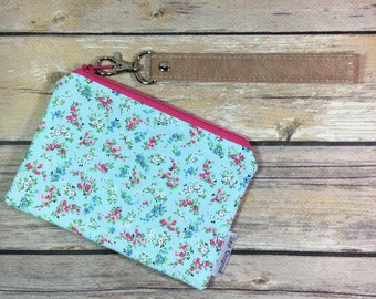 Mini wrislet, tiny floral, blue floral, floral wristlet, zipper pouch, card wallet, Mother's Day, gift for her, faux leather pouch