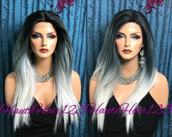 3 Tone Ombre Gray Straight Human Hair Blend Wig