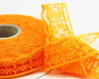 25 mm Light Orange Lace trim  - Seam (0.98 inches) Binding hem tape chantilly lace trim for bridal, baby, lingerie, hair accessories  -