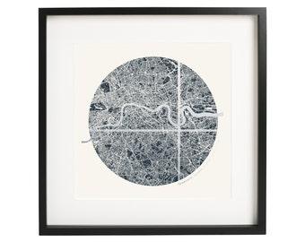 Framed Custom Circular London Coordinates Map - Silver Foil