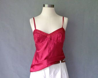 vintage silk camisole cami top sleeveless size S/M