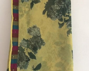 Free Shipping Vintage Floral Design Printed Georgette Fabric Curtain Drape Indian Saree VKEA125