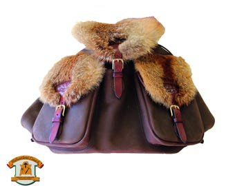 Leather backpack with Fox Fur