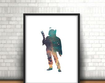 Boba Fett Star Wars Inspired Art Print Filled With Galaxy Nebula Space
