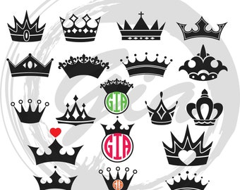 Crown Clipart SVG, king crown svg, queen crown svg, princess crown scg, ready to cut files for Cricut, Silhouette etc, also in png, eps, DXF