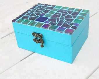 Box jewelry blue mosaic