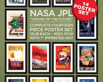 """NASA JPL """"Visions of the Future"""" Complete 14 Piece Poster Set – Heavyweight 100% PCW Art Prints (12x18 Each)"""