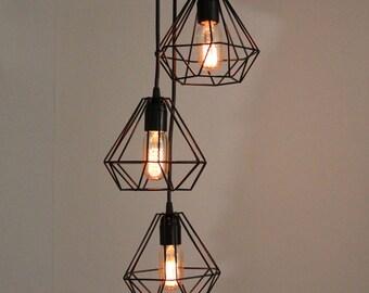 Chandelier Cluster lamp, Diamond lamp, Triple Cage Cluster Pendant Lamp, metal cage, edison lamp, Diamond Cage Lamp, metal cage pendant