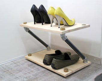 Industrial shoe rack, wooden shoe rack, shoes organizer, loft shelf,metal pipe shelf, entryway shoe stand, shoe storage, minimalist rack