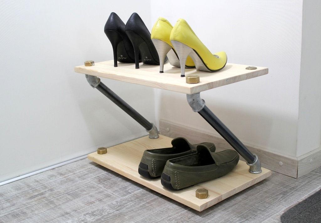 tag re chaussures industriel rack chaussures en bois. Black Bedroom Furniture Sets. Home Design Ideas