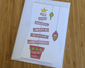 CARD - Merry Christmas Minimal Tree Design - Christmas Greeting Card