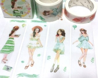 summer girl green tones washi tape 5M x 3cm lovely girl teen girl pretty Japanese comic girl wide masking tape girl diary planner sticker