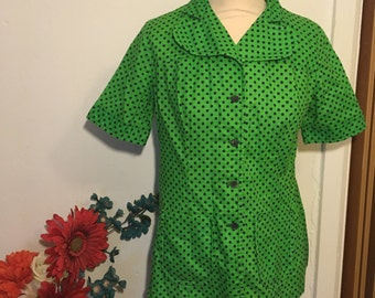 Vintage 80s Vivid Bright Green Polka Dot Punk Blouse Shirt UK 10-12
