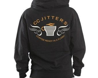 Custom Made CC Jitters Flash Coffee Shop Hoodie, Barry Allen, Geek Hoodie, Geek Gift, Zoom, Kid Flash, Flashpoint