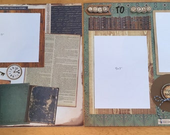 Book lover 2 page scrapbook layout