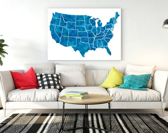 United States Map Large Navy Blue Watercolor Map Usa Map Print United States Usa Map Poster