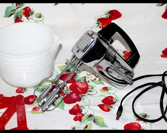 Atomic Art Deco Ward's Electric Hand Mixer, 5 Speed, Chrome Finish, Vintage 1950's - Hard to Find