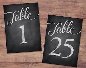 Wedding table numbers 1-25 - printable table numbers - rustic table numbers - PRINTABLE - 5x7