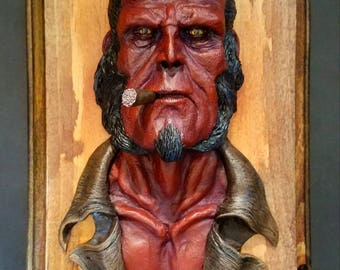 Hellboy relief painted