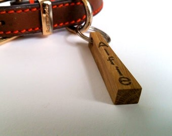 Oak Dog Tag, Walnut Dog Tag, Wooden Name Tag, Pet Disc, Personalized Dog ID, Puppy Name Tag, Dog Gift