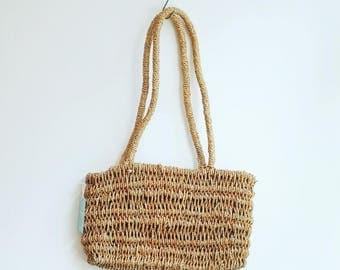 Vintage beach market sisal jute straw bag basket