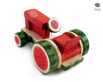 Watermelon Tractor - wood toy