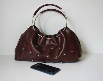 Vintage Brown Handbag, Faux Leather Bag, Hobo Bag