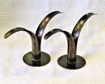 Pair of Sweden Lily  Scandinavian Candle Holders Ivar Alenius Bjork for Ystad Metall Sweden Mid Century Brass Candle Holders Made in Sweden