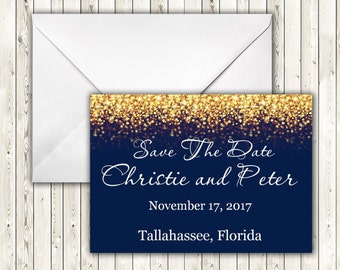 Navy Blue and Gold Glitter Save the Date Card, Instant Download, Save the Date Template, doc, Microsoft Word, code-024