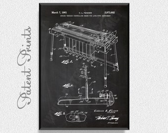 Fender Pedal Steel Guitar 1961 Patent Print, Music Poster, Music Art, Music Art Print, Music Wall Art, Music Wall Decor, Music Decorations