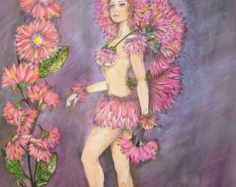 Hand Painted Gerbera Daisy Flower Fairy in watercolors //Great Gift//Great Decoration//Art for your walls//Drawing//Painting//Figure//Fairy