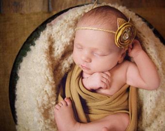 Newborn tieback, Newborn Prop, Photo Prop, Baby Tieback, Newborn Headband, Photography Prop, Organic Prop, Pearl Headband, Jute Tieback