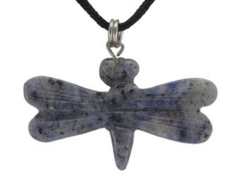Dragonfly Blue Sodalite Gemstone Pendant Hand Carved Stone Necklace Jewelry