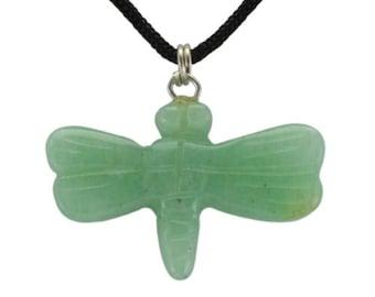 Dragonfly Green Aventurine Gemstone Pendant Hand Carved Stone Necklace