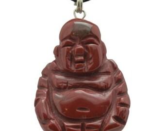 Buddha Red Jasper Gemstone Pendant Hand Carved Stone Necklace