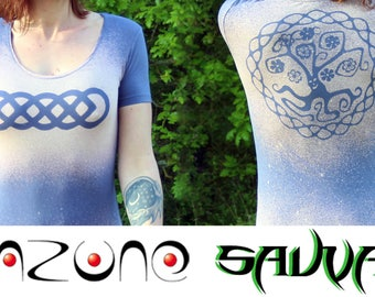 Pink faded blue tunic, braided Celtic and tree of life