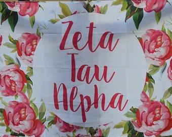 Zeta Tau Alpha Sorority Floral Flag