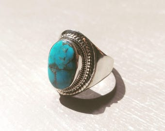 Sterling Silver Turquoise Gemstone Ring Size 7