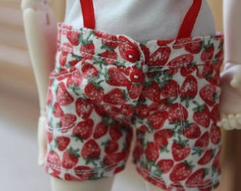Jeans shorts with strawberries for minifee | slim msd