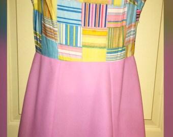 Vintage Mod Patchwork Print Pink Sleeveless Dress