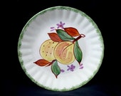 "8"" Blue Ridge Plate COUNTY FAIR Peaches Green Edge 8.25"" Salad (Avon) Southern Potteries Dinnerware Handpainted  (B19) 9986"