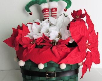 Elf Themed Floral Basket Arrangement Centerpiece, featuring Elf Legs